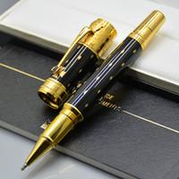 gemas superiores al por mayor-Top Luxury Elizabeth Black y Golden Silver Clip Roller bolígrafo Papelería de oficina de negocios con Gem Germany MB Número de serie como regalo