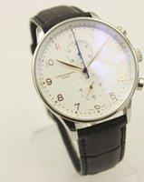 ingrosso orologio da quarzo fibbia bianco-Cronografo al quarzo di alta qualità, orologio da uomo in stile portoghese, orologio in vera pelle, quadrante bianco, 371401 79350, fibbia originale
