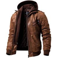 jaqueta de couro real da motocicleta dos homens venda por atacado-Revestimento de motocicleta de couro real dos homens capuz removível casaco de inverno homens quentes jaquetas de couro genuíno