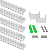 cubierta de perfil de tira de led al por mayor-Sistema de canal de aluminio LED en forma de U con cubierta lechosa, tapas finales y clips de montaje, perfil de aluminio para instalaciones de luz de tira LED
