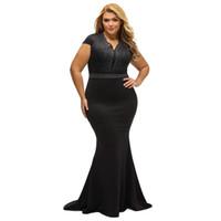 kadınlar, elmas, zemin uzunluğu toptan satış-Kadın Artı Boyutu Kat-uzunluk Elbise Rhinestone Taraklı V Boyun Mermaid Elbise Yüksek Bel Maxi Uzun Zarif Tek Parça Siyah