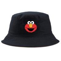 Wholesale korea girls hat for sale - Group buy Sesame street elom Men Bucket Hats Japan Korea Street Style Harajuku fisherman Cap Ladies women Summer Sun Hat for boy girl