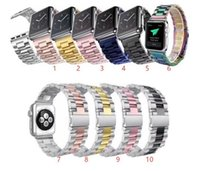 сплошные часы оптовых-Твердый металлический ремешок для Apple Watch 4 3 2 Браслет из нержавеющей стали Смотреть браслет Сетка ремешок Замена 38мм 42мм 40мм 44мм