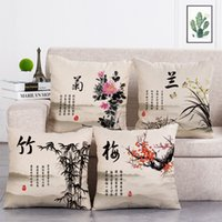 çin dekoratif yastık toptan satış-Çin Tarzı Baskılı Yastık Dekoratif Yastık Ev Dekorasyonu Kanepe Noel Süslemeleri Atmak Yastıklar Ev Için Kapakları