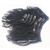 полное наращивание волос на голове оптовых-Бразильский необработанный девственница Afro Kinky завитого Плетение афро-американской клип в человеческом волосе Natural Color Full Head 8ште / Set 120g