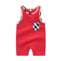 ingrosso set di abbigliamento per neonati nati-Estate neonato bambino pagliaccetti tuta manica corta tuta pagliaccetto del bambino neonato appena nato 0-24 m vestiti 100% cotone set pigiama abiti