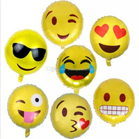 Wholesale balloon for boys toy for sale - 500pcs inch Round Big Cute Emoji Balloon Foil Helium Balloons Classic Toys For Boy Girls Party Decor Christmas Gift bb185