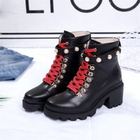 Wholesale black n white shoe boots resale online - Women Martin Boots Calfskin Leather Spikes Rivet Boot Lace Up Ankle Bottes Booties Au dessus Bottines Safety Shoes