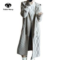 abrigo de mujer a medida al por mayor-191105 MEDIDA invierno Ovejas del otoño nuevas mujeres capa encapuchada femenina floja larga jersey de cachemira de lana gruesa de punto chaqueta de punto V