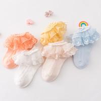 ingrosso calzini da ballo bianco-Bambini calzini sportivi Bambini ragazze estate sottile maglia di cotone pizzo principessa bianco calza da ballo bambino calzini di marca di lusso del progettista calzini