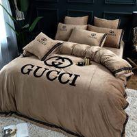 ropa de cama king size al por mayor-Thcik Fleece King Queen Size Winter Style Juego de cama moderno 4 piezas Funda nórdica Juego de sábanas de cama Fundas de almohada Cálidas sábanas suaves