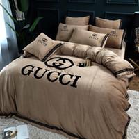 modern kral yatağı yorganlar toptan satış-Thcik Polar Kral Kraliçe Kış Tarzı Modern Yatak Seti 4 Adet Nevresim Çarşaf Set Yastık Sıcak Yumuşak yatak Örtüsü