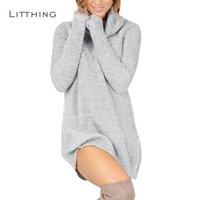 vestido suelto cuello alto de manga larga al por mayor-LITTHING Vestido de invierno para mujer 2018 Vestido de punto Cuello alto Manga larga Vestido suelto delgado Suéteres Jerseys Plus Size