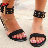 черные римские сандалии женщин оптовых-NAN JIU MOUNTAIN Summer Flat Sandals Women Open Toe Metal Buckle Black Transparent Simple Roman Women's Shoes Plus Size 34-43