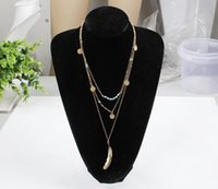 collar de cadena turquesa al por mayor-Collar de múltiples capas Collar de plumas Colgantes de turquesa Colgantes de moda para mujeres Cadena Chunky de oro 3 diseños accesorios hechos a mano