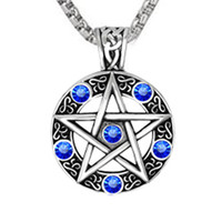 Wholesale wiccan pagan jewelry for sale - Group buy CUTEECO Dropshipping Vintage Style Witch Necklace Gothic Pewter Pentagram Pentacle Pagan Wiccan Pandent Necklace for Men Jewelry