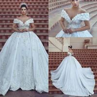 organza wedding dress black belt 도매-2019 말했다 Mhamad 디자이너 가든 캡 슬리브 라인 크리스탈 웨딩 드레스 오프 어깨 대성당 기차 신부 가운