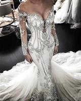vestido de malla de novia al por mayor-Sheer Mesh Top Lace sirena vestidos de novia 2019 Tulle de encaje apliques con cuentas de manga larga vestidos de novia de la boda BC0446