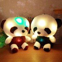 blinkender teddybär groihandel-Große nette neue Teddybär Panda Puppe Bear Hug bunten LED-Blitzlicht, Led Plüschspielzeug-