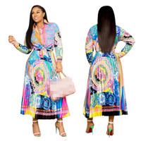 yay üst etek seti toptan satış-2019 Sonbahar Son Trendy Çiçek Baskılı Kadınlar İki Adet Parti Elbiseler uzun Kollu Yay Gömlek Üst ve Pleats Etek Setleri Sokak Gündelik Elbise