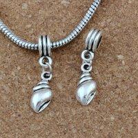 muschel armband großhandel-100pcs / lot conch charme großes loch baumeln europäischen perlen antik silber fit charme armband schmuck diy 6,5x29,5mm a-187a
