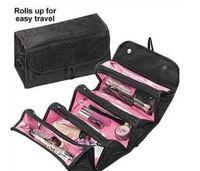 çantaları kapat toptan satış-ROLL-N-GO Tuvalet Seyahat Seti Takı Organizatör Kozmetik Case Katlanabilir Asma Yukarı Kozmetik Çantası Kılıf Kılıflar Kadınlar Makyaj Çantası olun