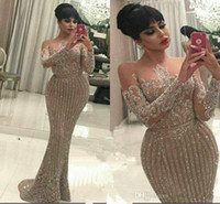 Wholesale evening gowns backs for women resale online - Long Sleeve Gold Sequined Mermaid Arabic Dubai Prom Dresses For Women Evening Dress Party Gowns Plus Size Abendkleider robe de soiree