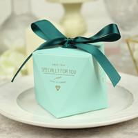 süßigkeiten-box rosa großhandel-Neue Rosa / Rot / Bule Diamantform Baby Shower Candy Box Hochzeit Gefälligkeiten und Geschenken Boxen Geburtstagsfeier Dekoration für Gäste