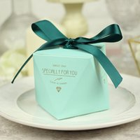 caja de caramelos en forma de diamante al por mayor-Nuevo Pink / Red / Bule Diamond Shape Baby Shower Caja de dulces Favores de boda y Cajas de regalos Decoración de la fiesta de cumpleaños para invitados