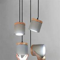 colgantes Lámpara de para de Accesorios colgante sala estar Hanglamp Spot de cemento iluminación Luces interior madera Deco nórdico Cocina de Led sChdtQr