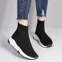 Wholesale cheap sneakers online - Cheap Luxury Brand Sock Shoes Black Oreo Grey Men Women Running Shoes Trainers Boots Designer Sneakers Sport Shoes Size