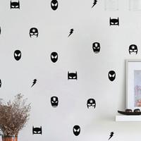 ingrosso ragazzo arte della camera da letto-Adesivi murali maschera da supereroe Decorazioni per camera da letto per bambini, Ironman Flash Art Stickers murali