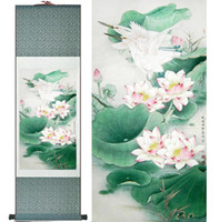 ingrosso fiori d'acqua cinese-Water Lily Flower Art Painting Home Office Decorazione cinese Scroll Pittura Flower Art Pittura cinese Painting2019061439