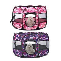 Wholesale pet playpens resale online - Pet Tent Portable Folding Dog House Cage Puppy Kennel Dog Cat Tent Playpen Octagonal Fence Indoor Outdoor Supplies Pet Carrier