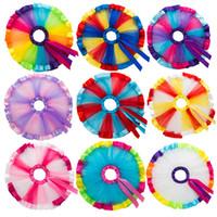 ingrosso abiti colorati di natale-11 colori bambini bambino del tutu del pannello esterno del bambino colore dell'arcobaleno maglie prua del vestito dal tutu dei bambini Designer vestiti delle ragazze Outfits M581