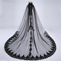 Wholesale white wedding dress black veil for sale - Group buy Sexy Black Applique Lace Meters Wedding Veils For Bride Cheap White Ivory With Comb Long Bridal Veil Country Wedding dress