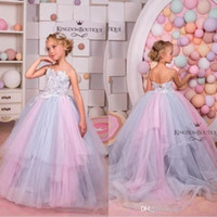 Wholesale champagne kids princess dress online - 2019 Lovely Princess Half Sleeve V Back Lace Crystal Flower Dresses Blue Custom Made Girls Kids Evening Gowns First Communion Dress BC1825