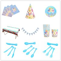 Wholesale colorful knives resale online - 9 Styles Pieces Set Baby Shark Party Supplies Birthday Party Articles Colorful Triangle Flags Paper Tray Cup Knife Fork Spoon L245