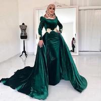 vestido largo de muselina al por mayor-2019 Muslin Islam Haji Vestido de noche de invierno para mujer Terciopelo musulmán de manga larga Overskirt Vestido de fiesta Desgaste Mujeres elegantes Una línea de vestidos formales
