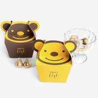 cuadrados de papel de dibujos animados al por mayor-2019 Cartoon Little Yellow Bear / Little Brown Bear Square Caja de papel de embalaje de dulces de galleta plegable Caja de regalo de chocolate para fiestas