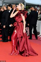 Wholesale little red dress sexy online - 2019 Burgundy Satin Mermaid Prom Dresses One Shoulder Ruffle Sleeves With Sash Front Split Plus Size Celebrity Evening Gowns In Cannes
