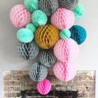 parti dekorasyonları çince fenerleri toptan satış-Kağıt Petek Çiçek Toplar Meslekler Parti Düğün Ev DIY Dekorasyon Kağıt Fener PomPom Asma Çin Yuvarlak