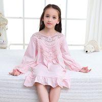 pijamas princesa crianças venda por atacado-rand roupas infantis meninas camisola palácio princesa pijama algodão menina mãe e filha pai-filho casa serviço vestido