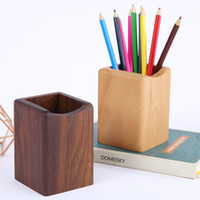 Wholesale pens holders for sale - Group buy Solid Wood Pen Holder Creative Fashion Desktop Decoration Simple Office Supplies Storage Box Graduation Gift Wooden Photo Frame Free DHL