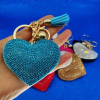 Wholesale Gold Crystal Heart Keychain Tassel Charm Carabiner Keychain Key Rings Holder Bag Hangs Fashion keyring Jewelry Will and Sandy