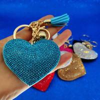 mode karabiner schlüsselbund großhandel-Gold Kristall Herz Schlüsselbund Quaste Charme Karabiner Schlüsselbund Schlüsselanhänger Halter Tasche hängt Mode Schlüsselanhänger Schmuck Will und Sandy