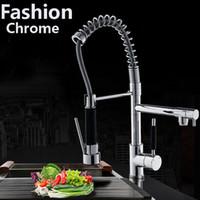 bicos de cozinha venda por atacado-Modern Chrome Latão Primavera Torneira Da Cozinha Bica Giratória Sink Mixer Tap Deck Montagem