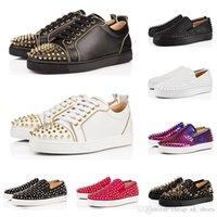 обувь для шипов онлайн оптовых-Дизайнер моды роскошь Red Bottoms шипованных Шипы Квартиры обувь для мужчин Женщины черный Сияющий партии любителей случайных кроссовки продажи онлайн