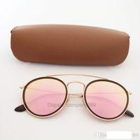 yeni stil lensler toptan satış-Kahverengi paketi ile Erkekler kadınlar Retro Gözlük için 1 Adet Yeni üst Kalite Yuvarlak Style 3647 Güneş gözlüğü Altın çerçeve Pembe Ayna cam mercek 51mm