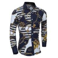 3d цветочные платья оптовых-Мужчины цветок рубашка 2019 новая осень 3D печать мода повседневная Slim Fit гавайские рубашки платья Camisa Masculina сорочка Homme